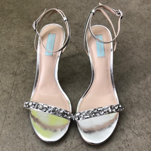 Jeweled Silver Heels | Poshmark